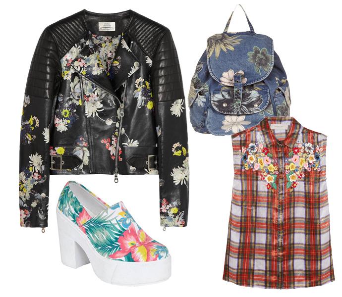 Кожаный бомбер Erdem, клетчатая блуза Preen, обувь на массивной подошве Asos, рюкзак TopShop