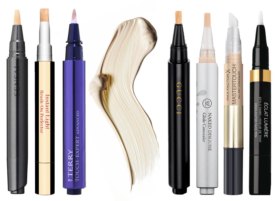 1. Sensai Concealer Brush Type; 2. Clarins Eclat Minute; 3. By Terry Touch-Expert Advanced; 4. Gucci Cosmetics Luminous Perfecting Concealer; 5. Rouge Bunny Rouge Naked Disguise; 6. Max Factor Mastertouch; 7. Chanel Eclat Lumiere