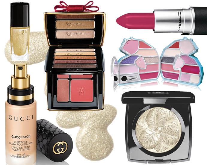 Лак для ногтей Lancome, палетка для макияжа Guerlain, помада M.A.C, набор для макияжа pupa, тональный крем Gucci, пудра-хайлайтер Chanel