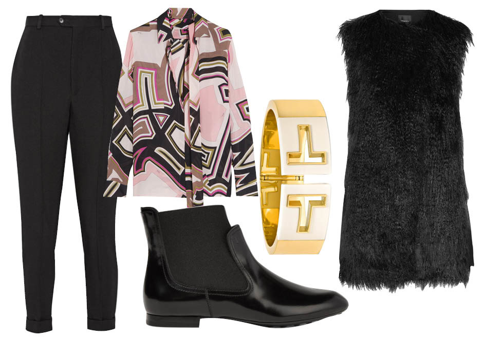 Выбор ELLE: Блуза Emilio Pucci, брюки Isabel Marant, ботильоны Tod's, кафф Tiffany&Co