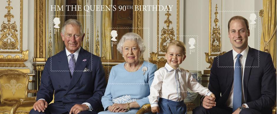 Принц Чарльз, Елизавета II, принц Георг и принц Уильям марки