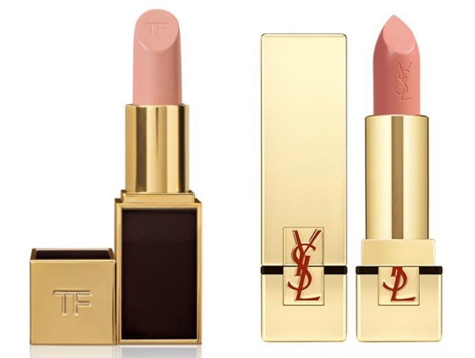 Tom Ford Lip Color, оттенок Blush Nude; Yves Saint Laurent, коллекция Rouge Pur Cotour Lip Color, оттенок Blonde Ingenu