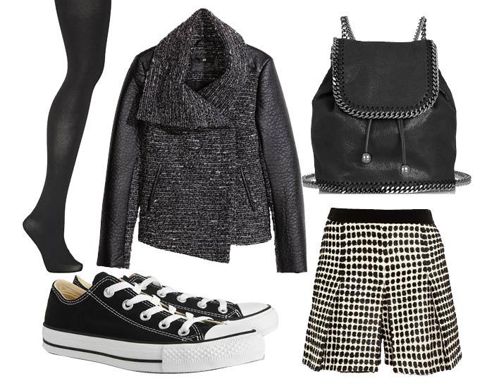 Выбор ELLE: шорты Proenza Schouler, жакет H&M, рюкзак Stella McCartney, колготки Falke
