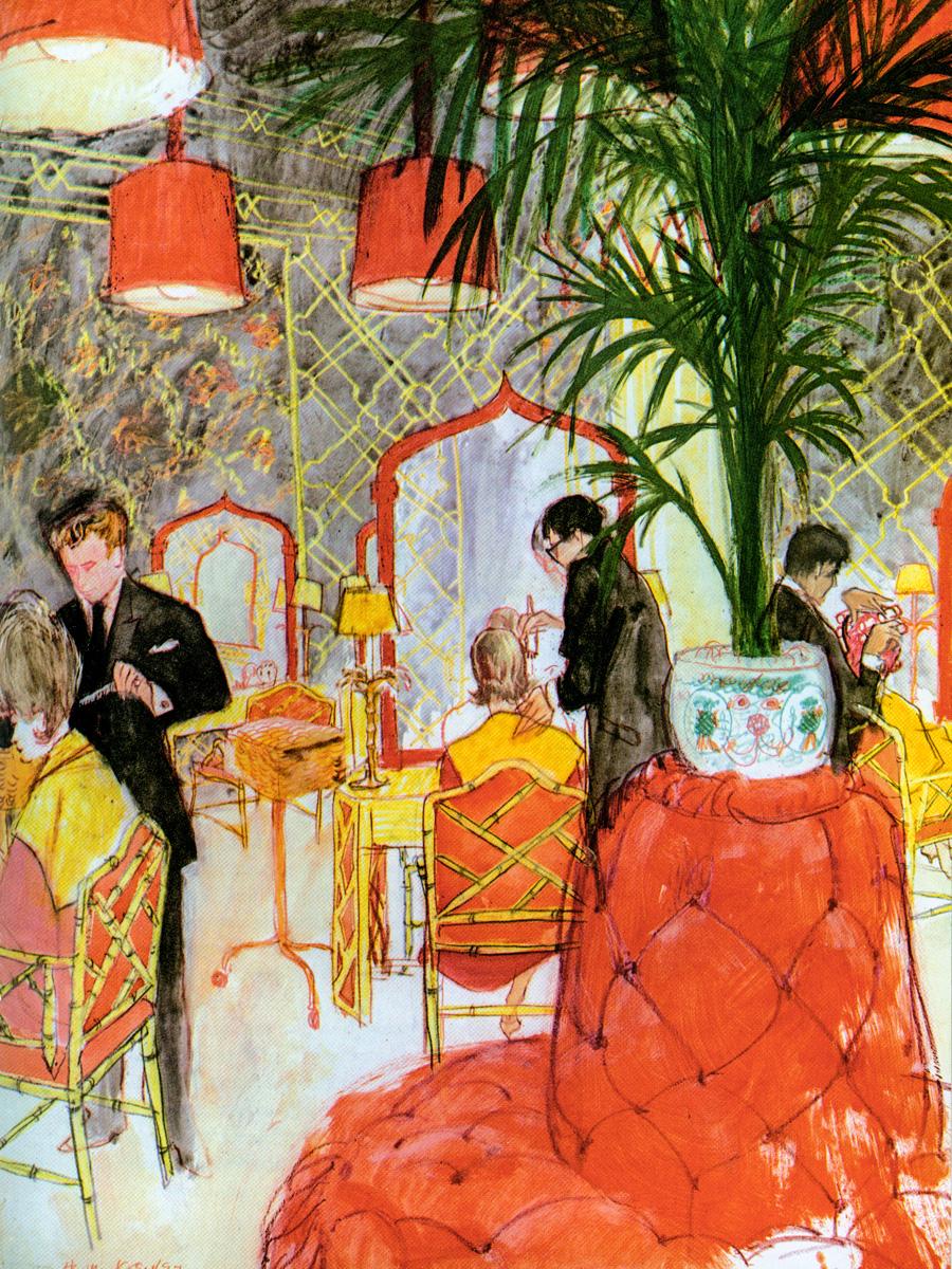 Cалон красоты Kenneth на 54-й улице в Нью-Йорке, оформленный Билли Болдуином. Рисунок Генри Келера. Середина 1960-х годов.