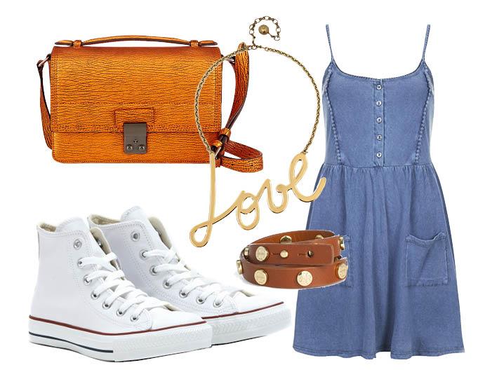 Выбор ELLE: платье шамбре TopShop, сумка 3.1 Philip Lim, колье Lanvin, браслет Tory Burch