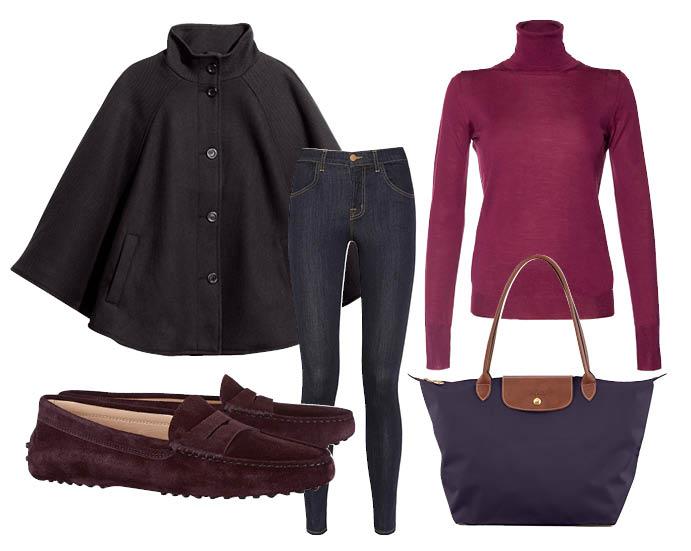 Выбор ELLE: скинни-джинсы J Brand, водолазка Roberto Collina в Brand inTrend, походная сумка Longchamp, пончо H&M