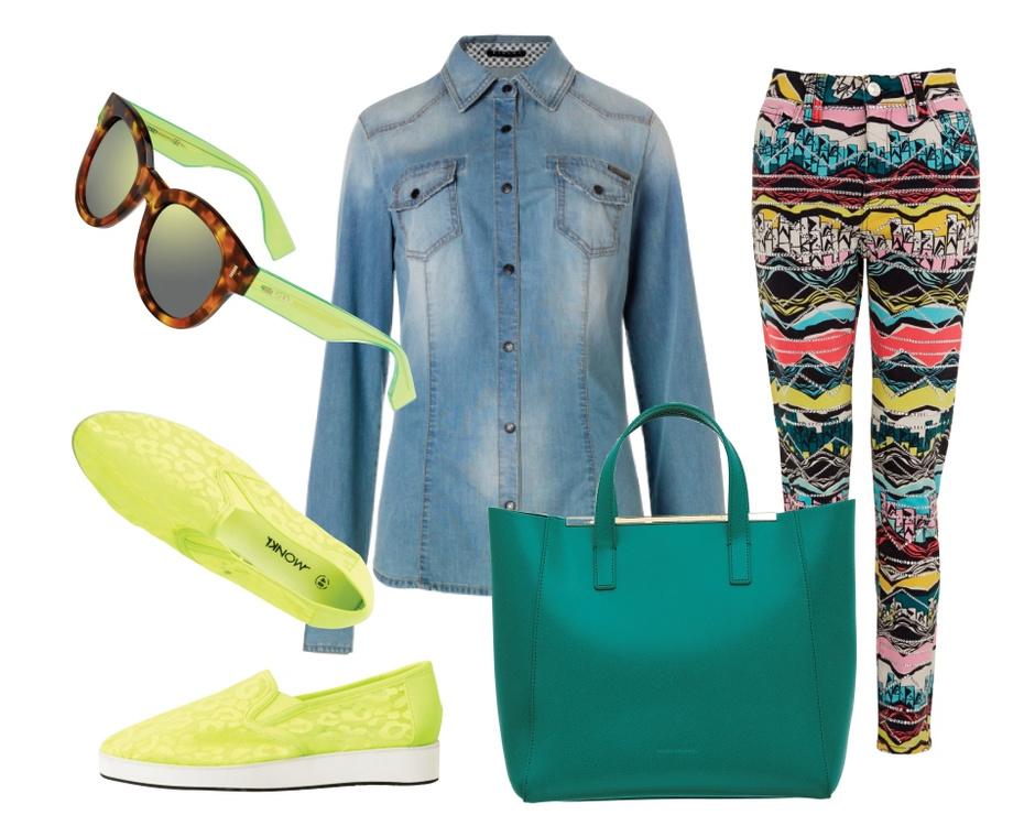 Очки Fendi, рубашка Sisley, брюки River Island, слипоны Monki, сумка Coccinelle