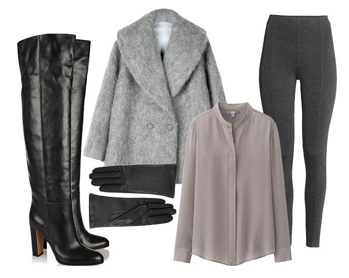 Выбор ELLE: ботфорты Gianvito Rossi, леггинсы H&M, пальто-жакет H&M, перчатки Givenchy