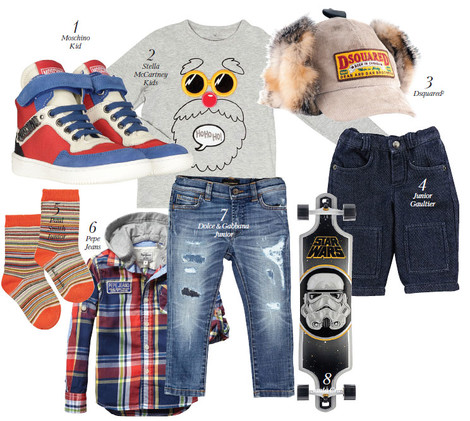 1. Кеды, Moschino Kid, 10 200 руб. 2. Пуловер, Stella McCartney Kids, 2 640 руб. 3. Кепка, Dsquared², 14 356 руб. 4. Брюки из ­денима, Junior Gaultier, 4 720 руб. 5. Носки, Paul Smith Junior, 288 руб. 6. Рубашка, Pepe Jeans, 3 439 руб. 7. Брюки из ­денима, Dolce & Gabbana Junior, 10 780 руб. 8. Скейтборд, Santa Cruz, 11 670 руб.