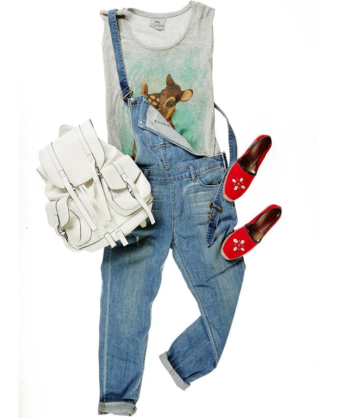 Футболка Paul & Joe sister Disney 24 евро, джинсовый комбинезон Ciwy 16750 руб., эспадрильи Dsquared2 14050 руб., рюкзак Topshop 2099 руб.