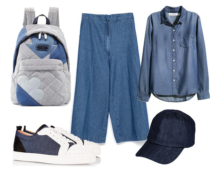 Выбор ELLE: рубашка H&M, кеды Christian Louboutin, рюкзак Marc by Marc Jacobs, бейсболка George