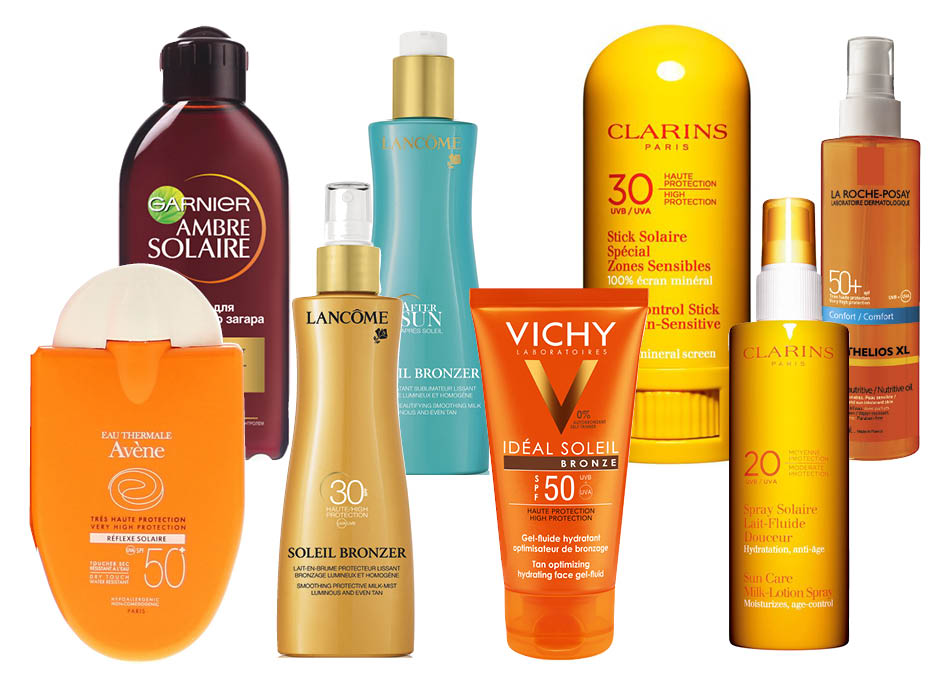 Garnier Ambre Solaire; Avene Reflexe Solaire; Lancôme Soleil Bronzer Smoothing Protective Cream SPF 30 and Soleil Bronzer After Sun; Vichy Idael Soleil Bronze SPF 30; Clarins Sun Care Milk-Lotion Spray SPF 20 и Sun Control Stick For Sun-Sensitive Areas SPF 30; La Roche-Posay Anthelios XL SPF 50