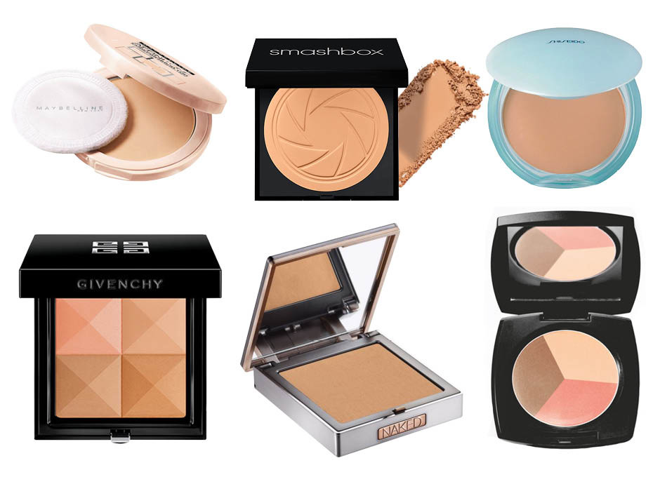 1. Maybelline Affinitone; 2. Smashbox Photo Filter Powder Foundation; 3. Shiseido Pureness Matifying Compact Oil-Free Foundation; 4. Givenchy Le Prisme Visage; 5. Urban Decay Naked Skin; 6. Avon Color
