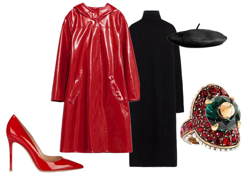 Выбор ELLE: платье-водолазка Zara, туфли Gianvito Rossi, берет H&M, кольцо Gucci