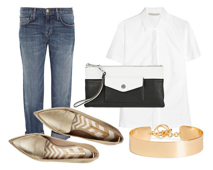 Выбор ELLE: джинсы-бойфренд Current/Elliott, рубашка Victoria Beckham, браслет-кафф H&M, клатч Michael by Michael Kors с чем носить лоферы