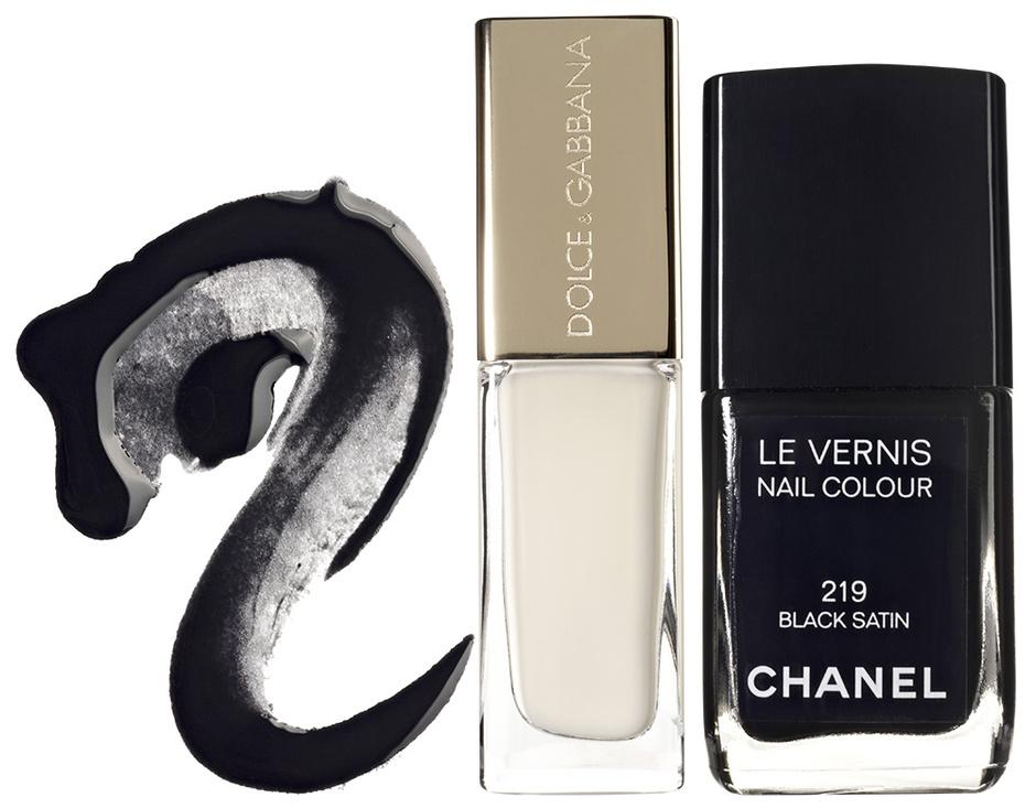 Cверху вниз, лаки для ногтей: La Laque Couture, 27, YSL; The Nail Lacquer, 20, Dolce & Gabbana; Le Vernis, 219, Chanel