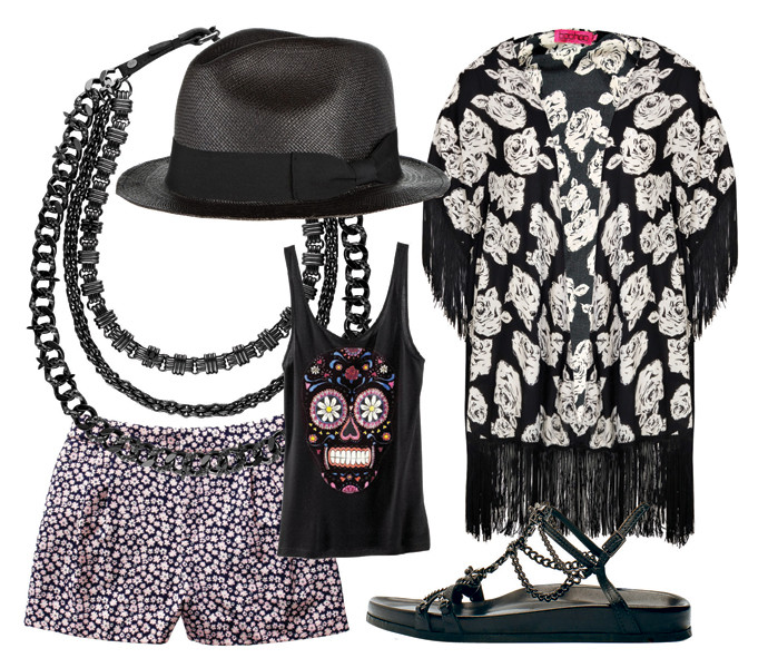 Шляпа Sensi Studio, сандалии Barbara Bui, туника Boohoo, шорты Juicy Couture, колье Louis Vuitton, футболка Modekungen