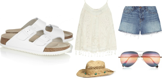 Выбор ELLE: белые сандалии Birkenstock, топ Kate Moss for TopShop, шорты J Brand, солнцезащитные очки Cutler and Gross, шляпа H&M