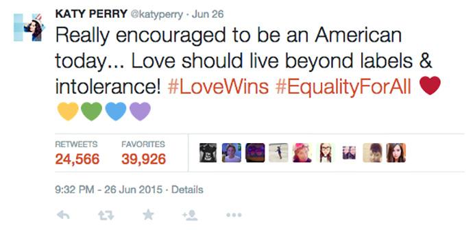 Кэти Перри о легализации однополых браков в США