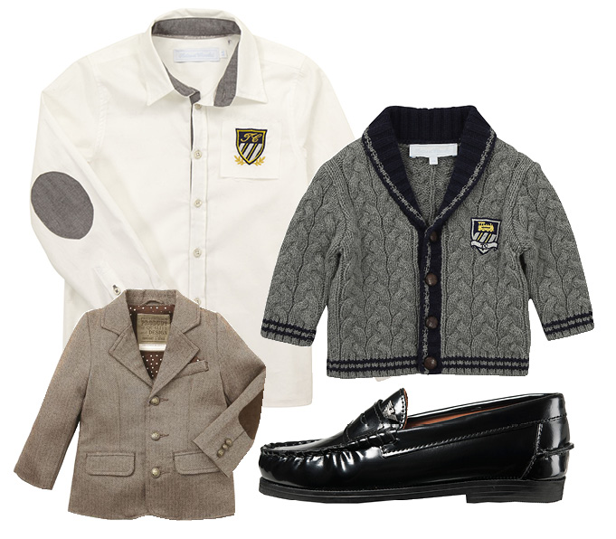 Выбор ELLE: блейзер Mothercare, рубашка Tartine et Chocolat, кардиган Tartine et Chocolat, броги Armani Junior