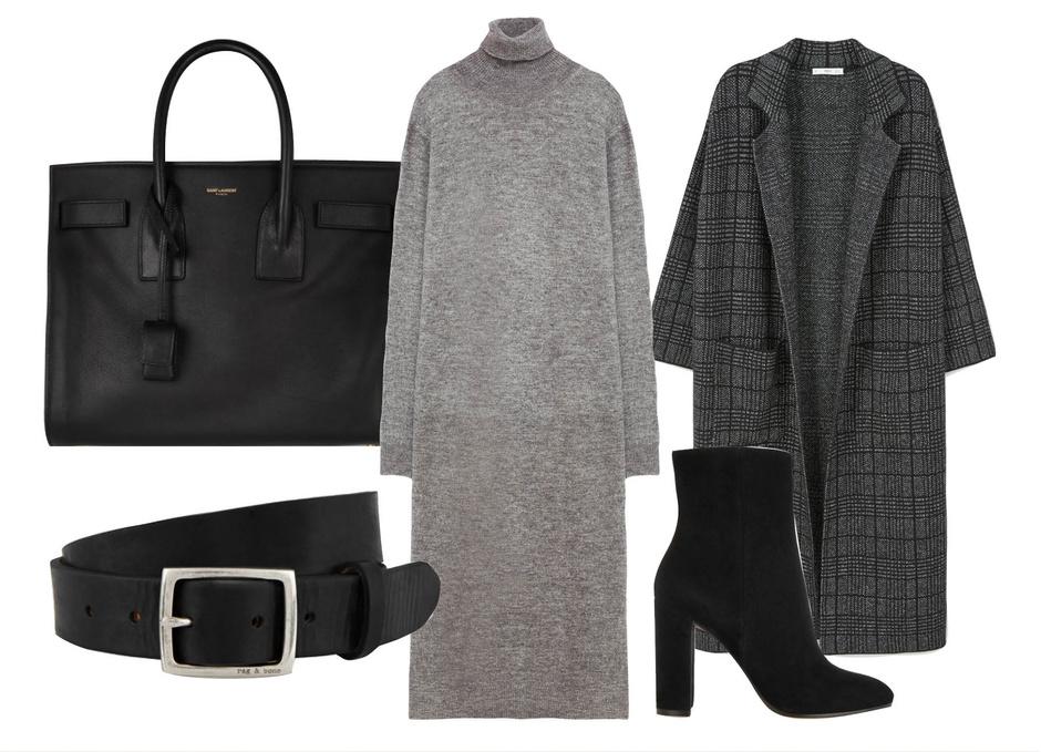 Выбор ELLE: пальто Mango, ботильоны Gianvito Rossi, сумка Saint Laurent, пояс Rag&Bone