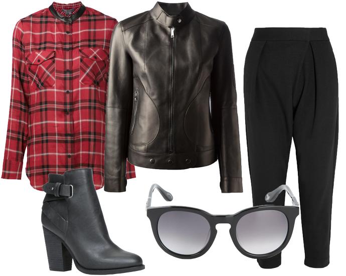 Клетчатая рубашка Vince, байкерский жакет Dolce&Gabbana, широкие укороченные брюки Theory, ботильоны Aldo, очки Vivienne Westwood Anglomania