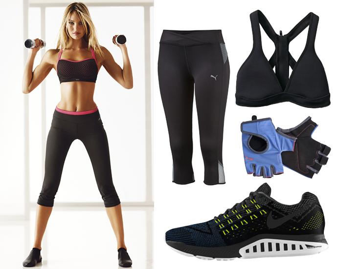 Легинсы PUMA, топ Roxy, спортивные перчатки PUMA, кроссовки Nike
