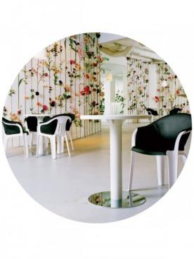 Благодаря вертикальному саду интерьер кафе в галерее Tensta Konsthall в Стокгольме меняется от сезона к сезону. Поддерживать цветение помогают пробирки с питательным раствором.