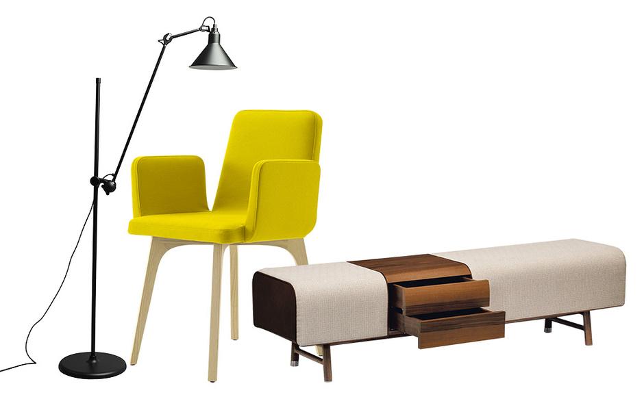 Торшер N 215 французской марки Gras. Кресло Vik, дизайн Тибо Дезомбра для Ligne Roset. Скамья с выдвижными ящиками Cheval d'Arcons из коллекции Les Nе´cessaires, дизайн Филиппа Нигро для Hermès.