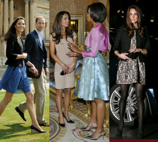 Кейт Миддлтон в платье Zara на следующий день после свадьбы; в платье Reiss на встрече с Бараком и Мишель Обама; в платье Zara на концерте в Альберт-холле