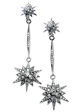 Серьги, белое и желтое золото, бриллианты, H.Stern Stars