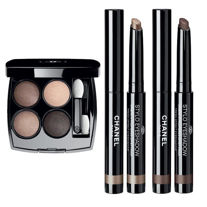 «Les 4 Ombres» Tisse Essentiel; кремовые тени-карандаш «Stylo Eyeshadow» Bronze Platine и Brun Chatain
