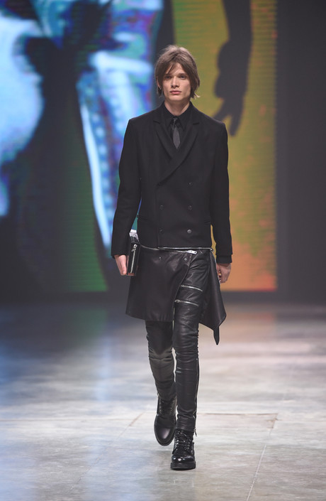diesel осень-зима 2014-2015 кожаные брюки и черный пиджак