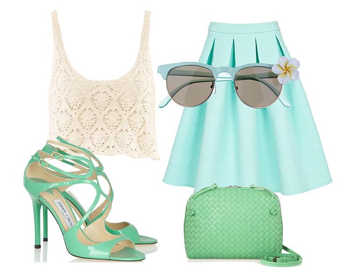 Выбор ELLE: топ H&M, юбка Asos, очки River Island, сумка Bottega Veneta, босоножки Jimmy Choo