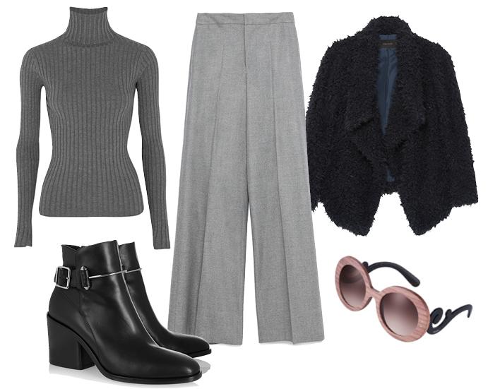 Выбор ELLE: жакет Zara, водолазка Acne Studios, ботильоны Balenciaga, солнцезащитные очки Prada
