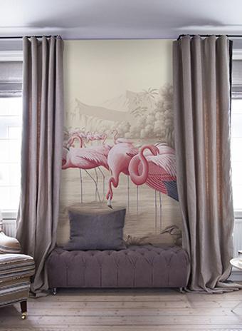 Обои ручной работы Flamingo, de Gournay