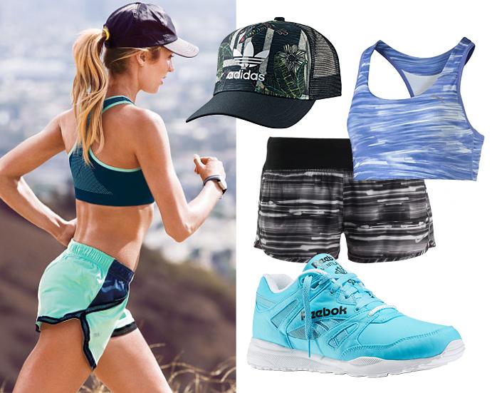 Бейсболка adidas Original, топ PUMA, шорты Nike, кроссовки Reebok Classic