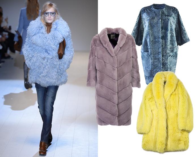 """На модели - шуба Gucci, розово-серая шуба - Braschi, бирюзовая шуба - """"Второй меховой"""", желтая шуба - Alexander Terekhov"""