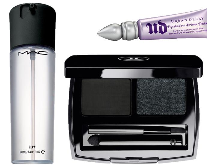 Спрей-фиксатор для макияжа MAC Fix+; База под макияж век Urban Decay Eyeshadow Primer Potion, оттенок Original; Сухая подводка La Ligne de Chanel, оттенок Noir-Lame