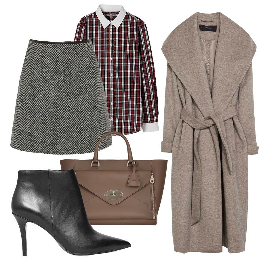 Выбор ELLE: рубашка Uniqlo, юбка Burberry Brit, ботильоны Mango, сумка Mulberry