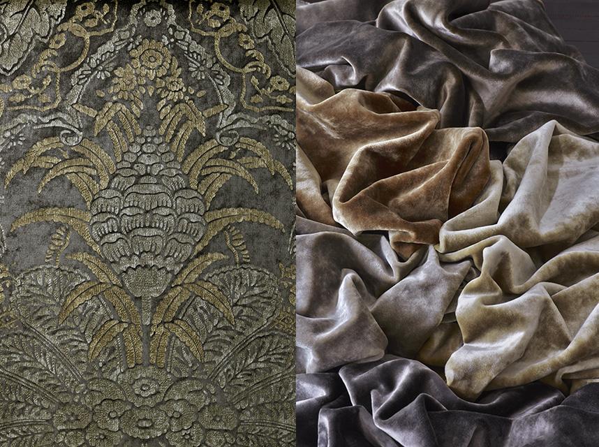 Ткань Antoinette, цвет Dusk, воссоздана по сохранившемуся образцу текстиля XVII века; Ткани Cavalier, вискоза, хлопок.