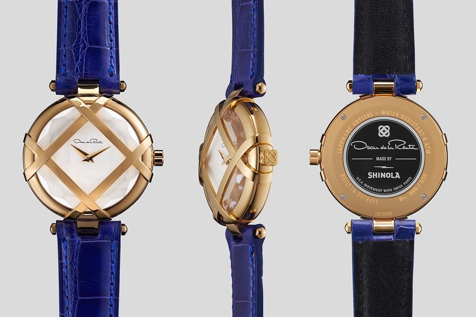 Золотые часы с кожаным ремешком
