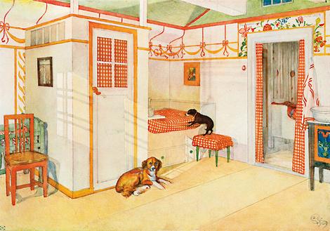 «Интерьер спальни». Иллюстрация к детской книге работы Карла Ларссона.