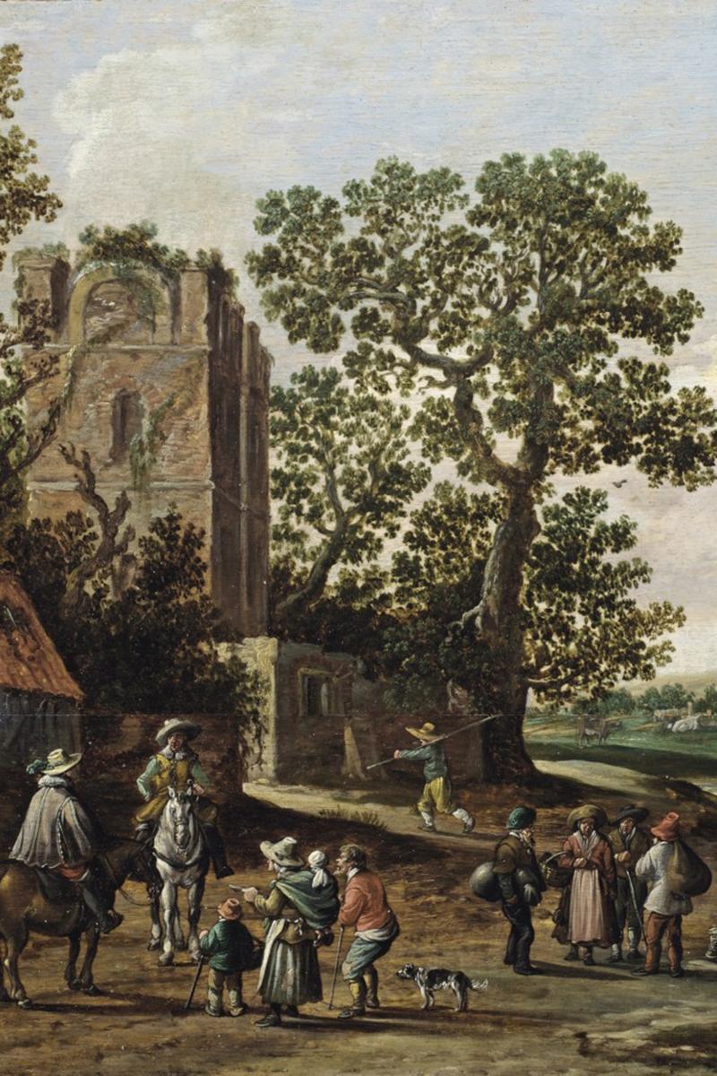 «Речной пейзаж со всадниками и семьей нищих на фоне руин», Ян Йозеф ван Гойен