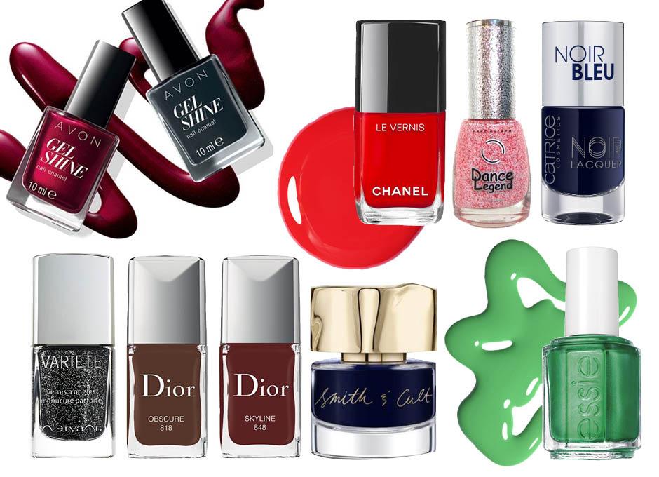 1. Avon Gel Shine; 2. Chanel Le Vernis; 3. Dance Legend Sahara Crystal; 4. Catrice Noir Bleu; 5. Л'Этуаль Variete; 6. Dior Obscure & Dior Skyline; 7.Smith&Cult; 8. Essie Shimmer Brights 2016