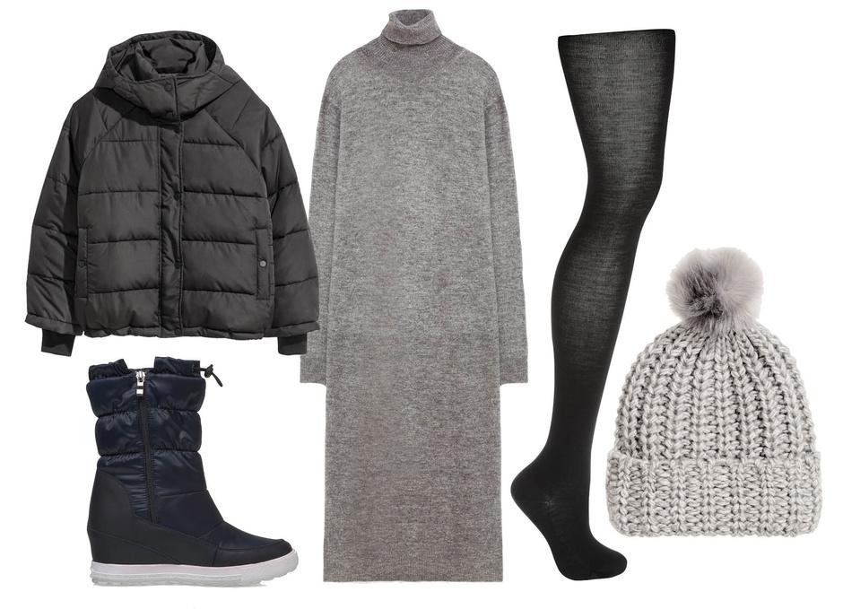 Выбор ELLE: пуховик H&M, ботинки Mascotte, колготки Wolford, шапка H&M