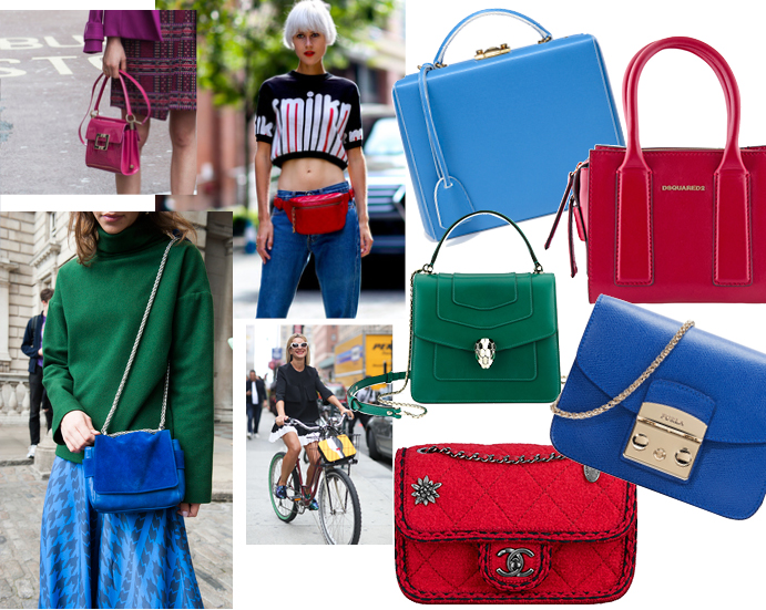 Модные аксессуары весна лето 2015 Цветная сумка
