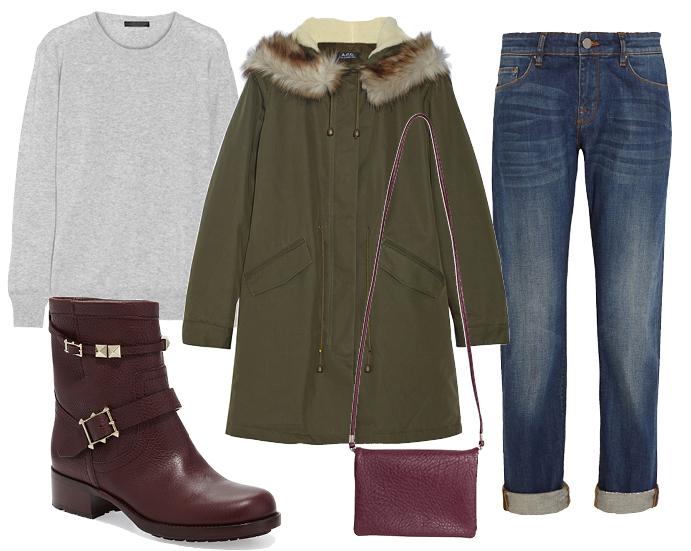 Выбор ELLE: парка A.P.C., джинсы Victoria Beckham, ботинки Valentino, сумка Monki