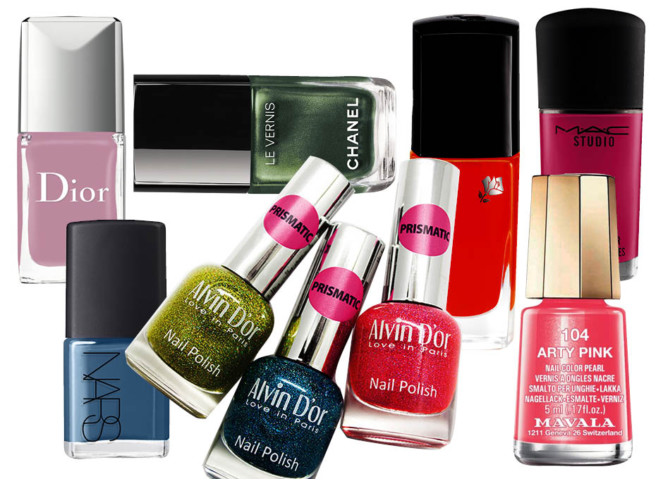 Dior Dotting Tool Plumetis; Chanel Le Vernis Emeraude; Lancôme Vernis in Love Orangeade glacée; MAC Stidio Nail Girl About Town; Alvin D'Or Love in Paris; Mavala Nail Color Cream