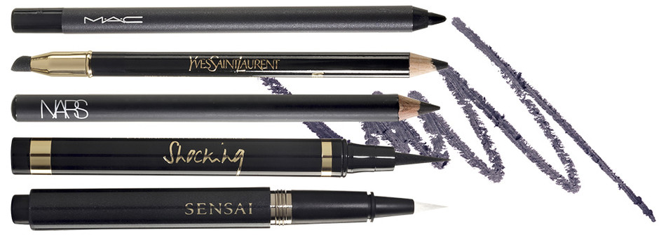 Карандаши для век: Pro Longwear Eye Liner, Black Ice, MAC; Dessin du Regard, 1, YSL; Eyeliner Pencil, Black Moon, Nars; Лайнеры для век: Eyeliner Effet Faux Cils, Shocking, 1, YSL; Liquid Eyeliner, 01, Sensai